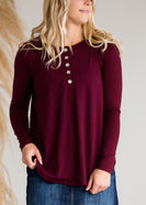 Long Sleeve Shell Button Top - FINAL SALE