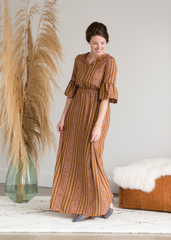 Inherit Co.  | Women's Modest Dresses | Ditsy Print Trumpet Sleeve Maxi Dress