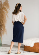 Side Pocket French Terry Midi Skirt