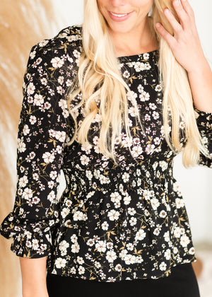 Black Square Neck Floral Top