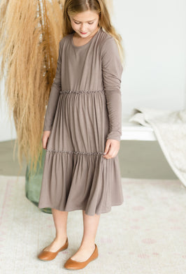 Inherit Co.  | Modest Girls Dresses | Denim Overall Midi Dress |