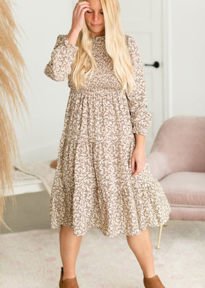 Ivory Smocked Ruffle Neck Midi Dress