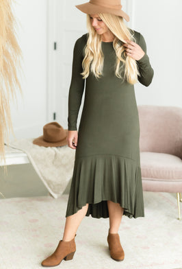 Inherit Co.  | Long Sleeve Dresses | Taupe V Neck Tiered Midi Dress |