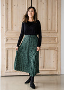 Inherit Co.  | Olive Green Leopard Print Midi Skirt