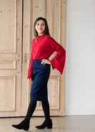 Straight Fit Dark Denim Midi Skirt - Final Sale