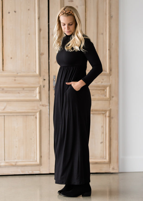 Inherit Co.  | Women's Modest Dresses | Brushed Black Turtleneck Maxi Dress