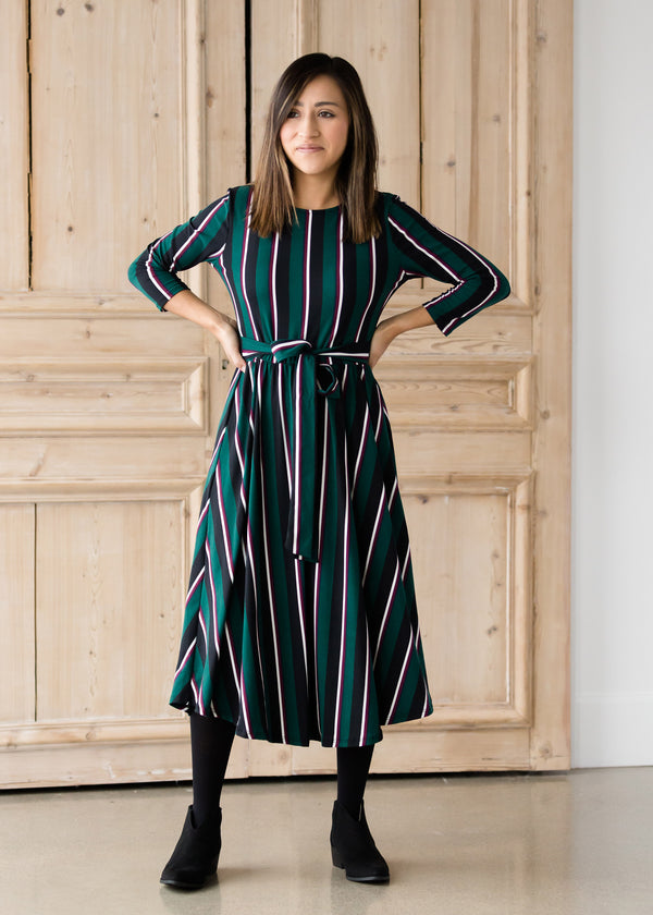 Inherit Co.  | Women's Modest Dresses | Striped Bow Midi Dress