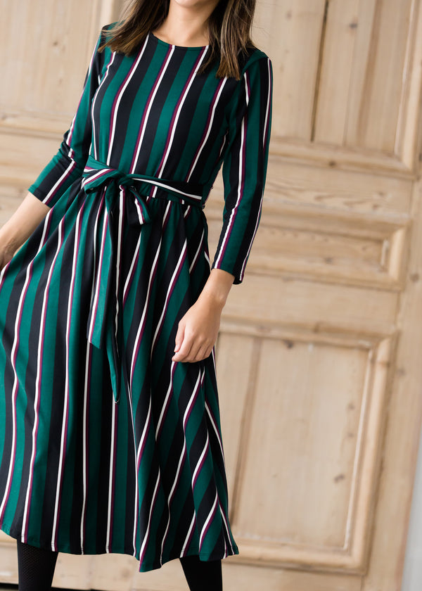 Inherit Co.  | Modest Clothing on Sale | Striped Bow Midi Dress - Final Sale