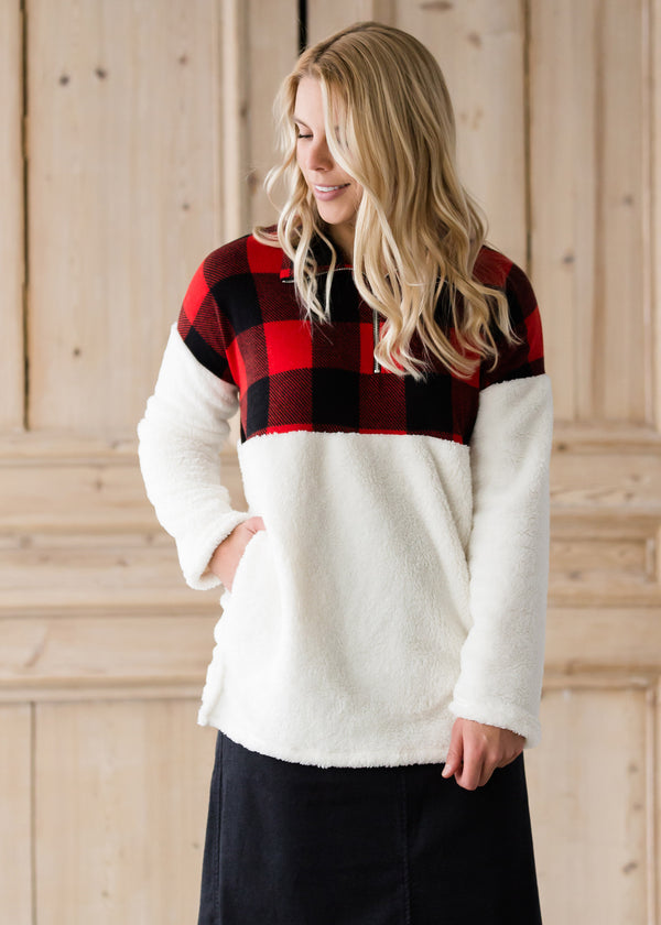 Inherit Co.  | Modest Women's Tops | Buffalo Check Color Block Sherpa Sweater - FINAL SALE