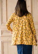 Draped Open Front Floral 3/4 Sleeve Cardigan - FINAL SALE