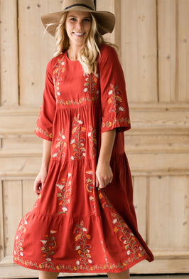 Inherit Co.  | Women's Modest Dresses | Floral Long Sleeve Maxi Dress |