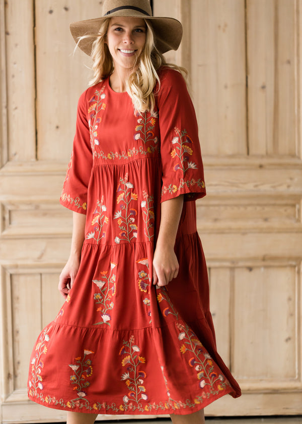 Inherit Co.  | Women's Modest Dresses | Floral Embroidered Midi Dress - FINAL SALE