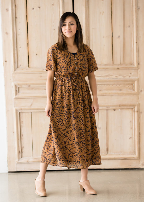 Inherit Co.  | Women's Modest Dresses | Leopard Print Midi Dress