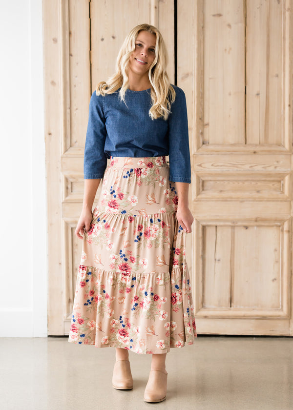 Inherit Co.  | Modest Women's Skirts | Floral Layered Stretch Maxi Skirt