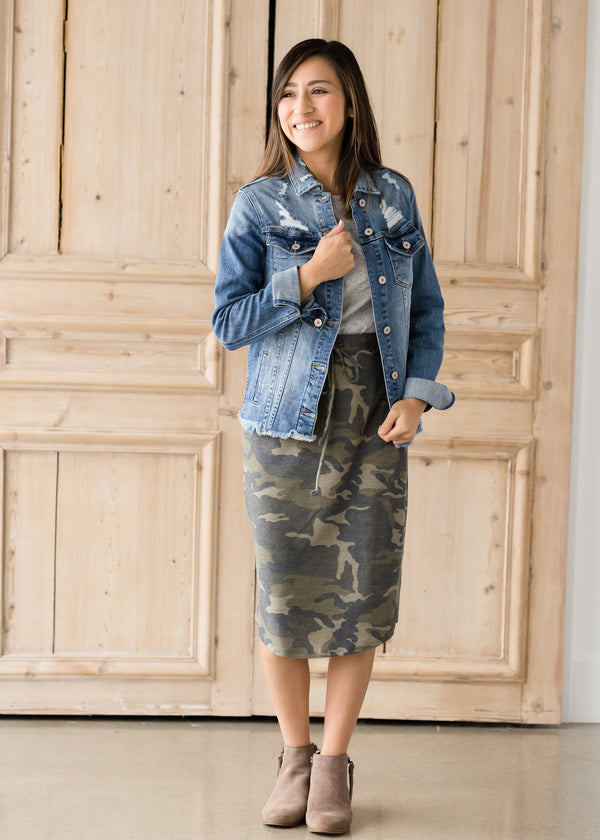 Inherit Co.  | Modest Women's Skirts | Camo Print Drawstring Midi Skirt