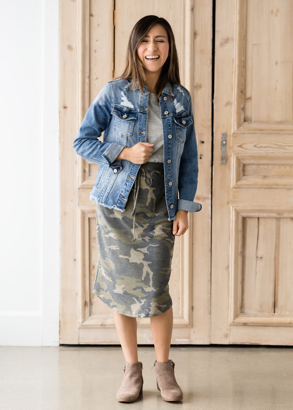 Inherit Co.  | Camo Print Drawstring Midi Skirt