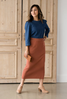 Inherit Co.  | Modest Women's Skirts | Black Wash Midi Denim Skirt |