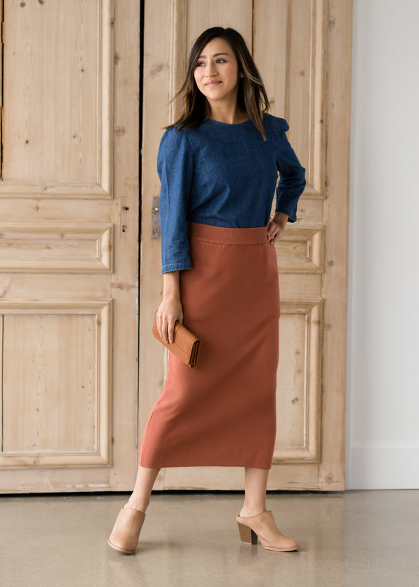 Inherit Co.  | Modest Women's Skirts | Brick Sweater Midi Skirt - FINAL SALE