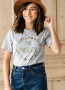 Be Merry  Christmas Wreath Graphic Tee - FINAL SALE