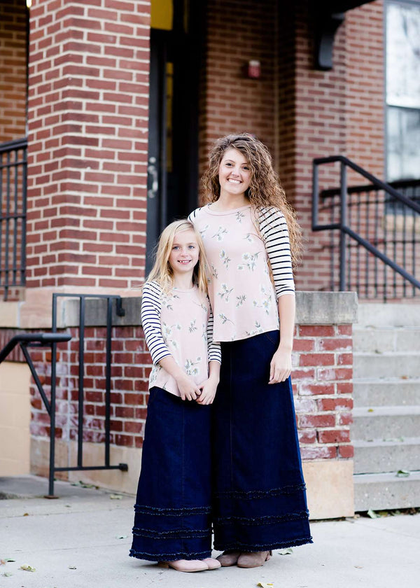 long modest ruffle denim skirt mommy and me style