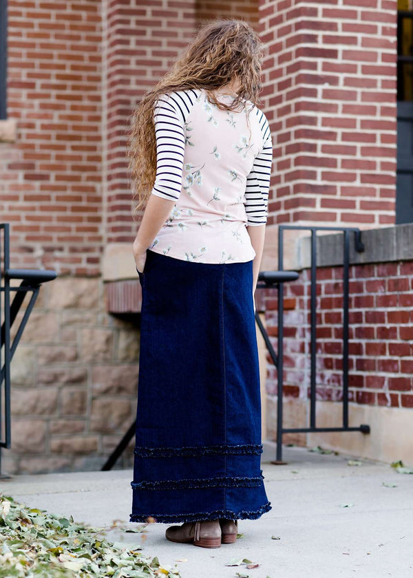long modest ruffle denim skirt