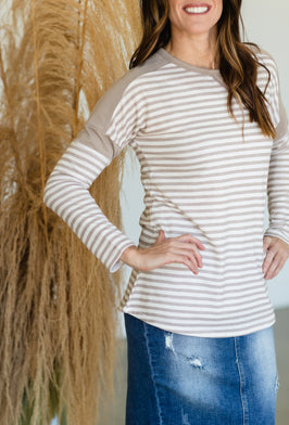 Inherit Co.  | Modest Women's Best Sellers | Tan Striped Open Front Duster Cardigan - FINAL SALE |