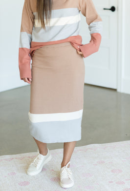 Inherit Co.  | Sweater Skirt Sets | Two Tone Camel Sweater Skirt - FINAL SALE |