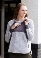 Pullover Asymmetrical Snap Sherpa Sweater - FINAL SALE