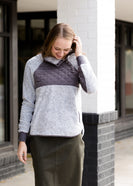 Inherit Co.  | Modest Women's Tops | Pullover Asymmetrical Snap Sherpa Sweater