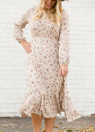 Ditsy Print Cream Floral Midi Dress - FINAL SALE