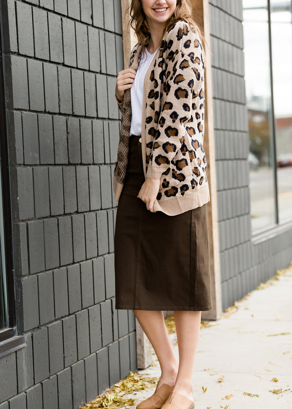 Inherit Co.  | Modest Women's Tops | Leopard Knit Sweater Cardigan