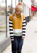 Inherit Co.  | Women's New Arrivals | Mock Neck Color Block Striped Top