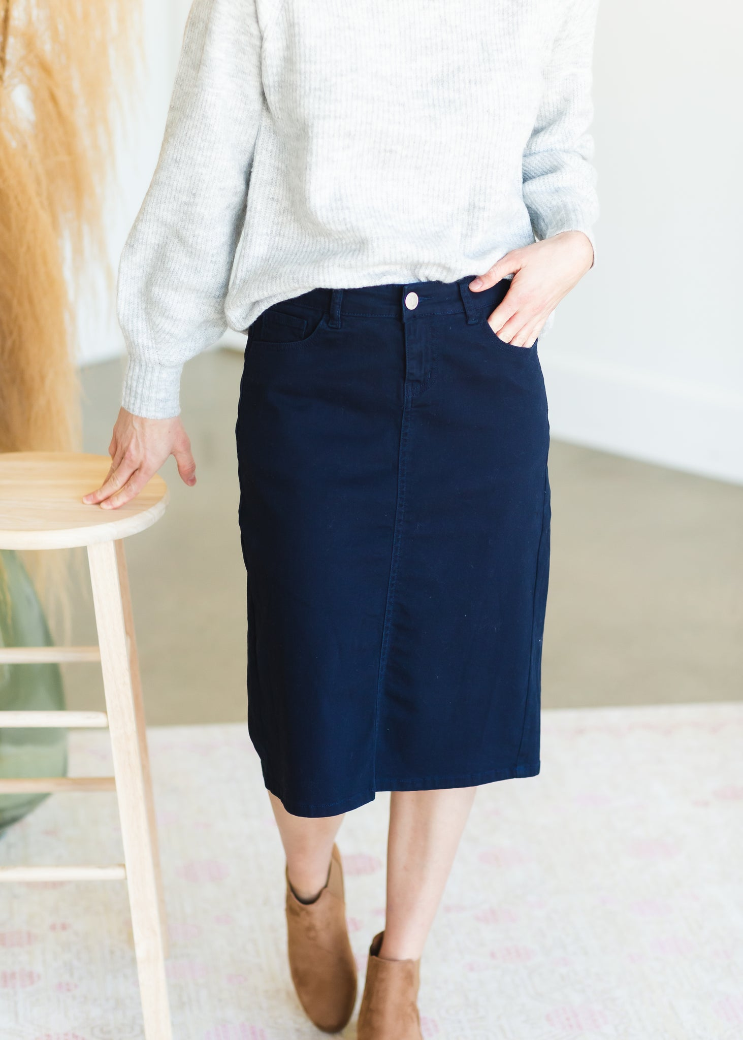 Remi Sailor Navy Denim Midi Skirt