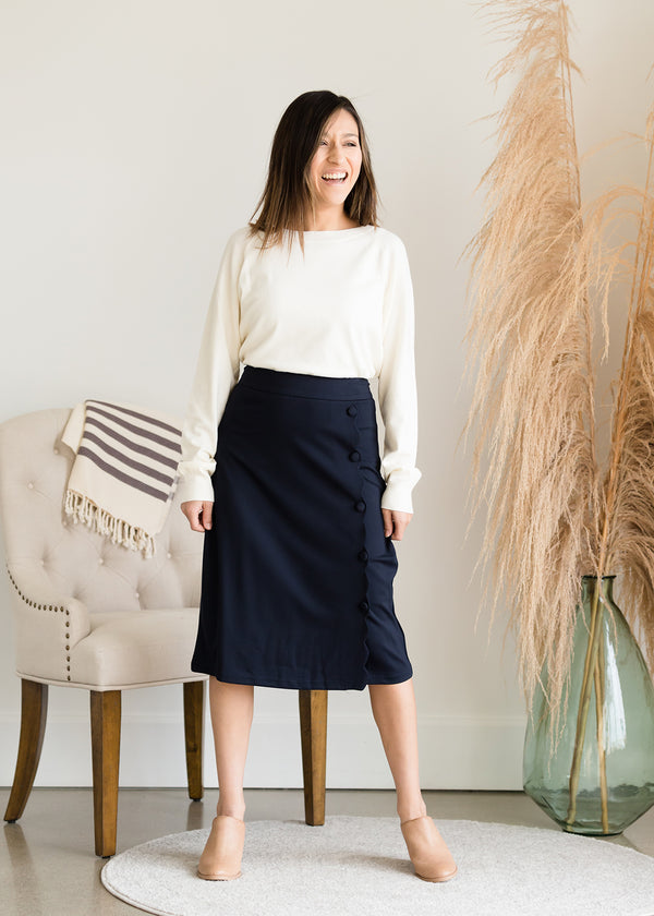 Inherit Co.  | Modest Women's Skirts | Faux Wrap Midi Pencil Skirt - FINAL SALE