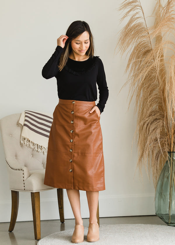 Inherit Co.  | Modest Women's Skirts | Button Front Faux Leather Midi Skirt - FINAL SALE