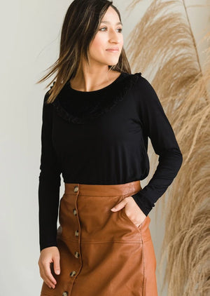 Velour Contrast Top - FINAL SALE