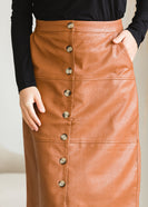 Button Front Faux Leather Midi Skirt - FINAL SALE