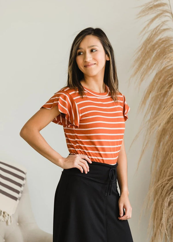 Inherit Co.  | Modest Women's Tops | Striped Ruffle Sleeve Tee - FINAL SALE