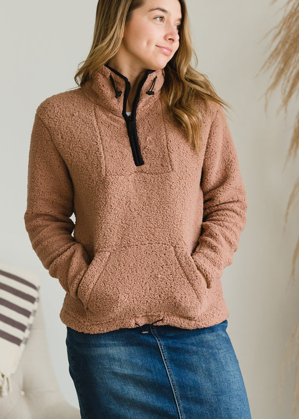 Inherit Co.  | Modest Women's Tops | Half Zip Sherpa Sweater