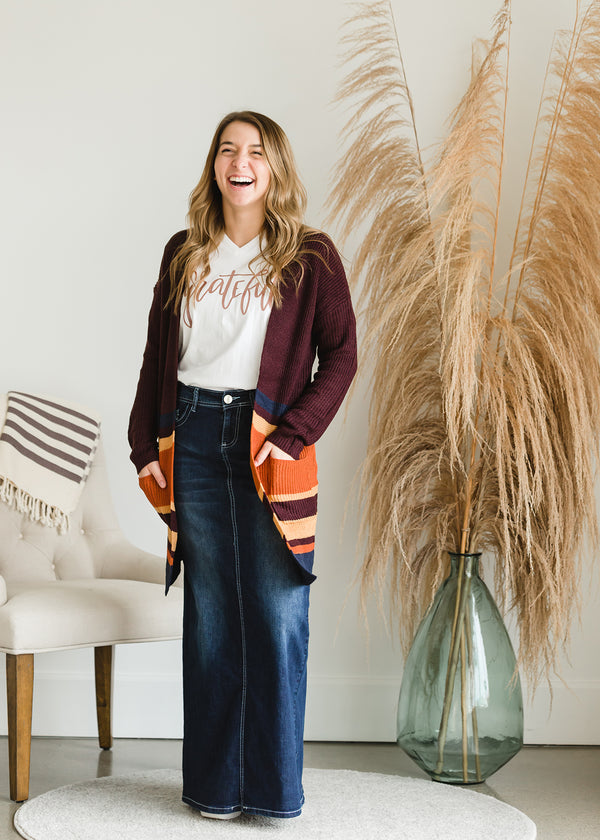 Inherit Co.  | Modest Women's Tops | Open Front Long Striped Cardigan