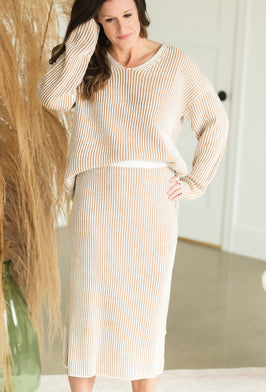 Inherit Co.  | Sweater Skirt Sets | Brown Multi Stripe Ribbed Sweater - FINAL SALE |