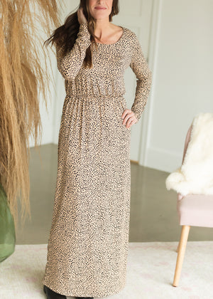 Taupe Animal Print Maxi Dress