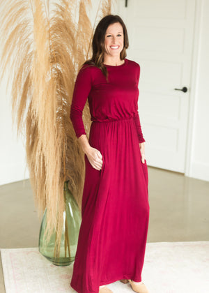 Burgundy Long Sleeve Empire Waist Maxi Dress - FINAL SALE