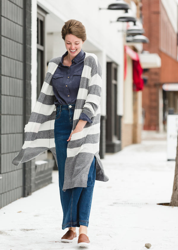 Inherit Co.  | Modest Women's Layering Essentials | Gray Striped Duster Cardigan