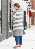 Gray Striped Duster Cardigan - FINAL SALE