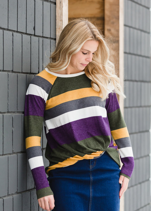 Inherit Co.  | Winter Clearance | Long Sleeve Striped Knot Top - FINAL SALE