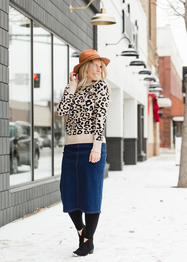 Inherit Co.  | Modest Women's Tops | Ribbed Leopard Print Sweater
