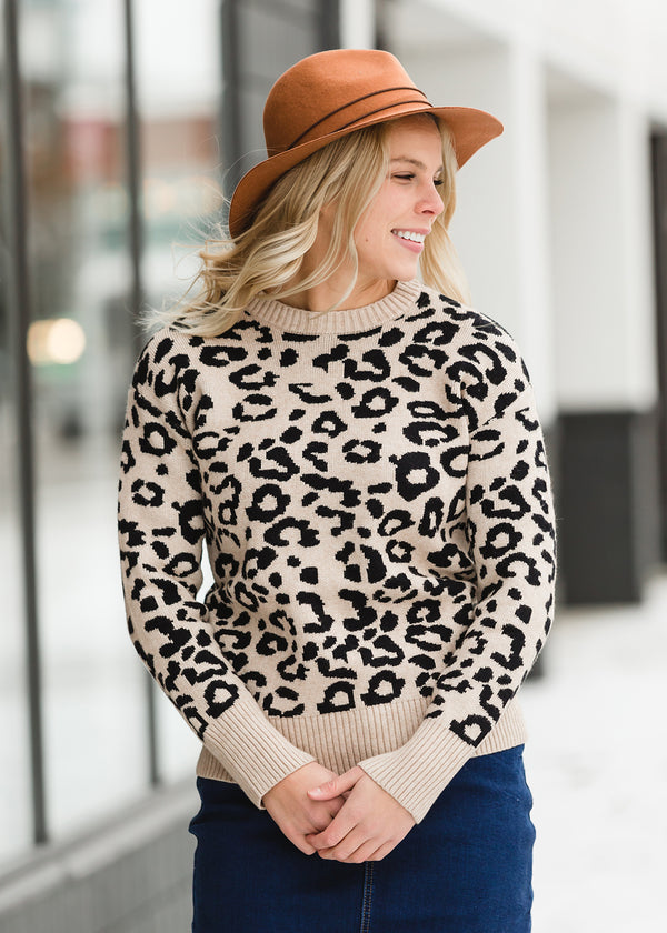 Inherit Co.  | Winter Clearance | Ribbed Leopard Print Sweater - FINAL SALE