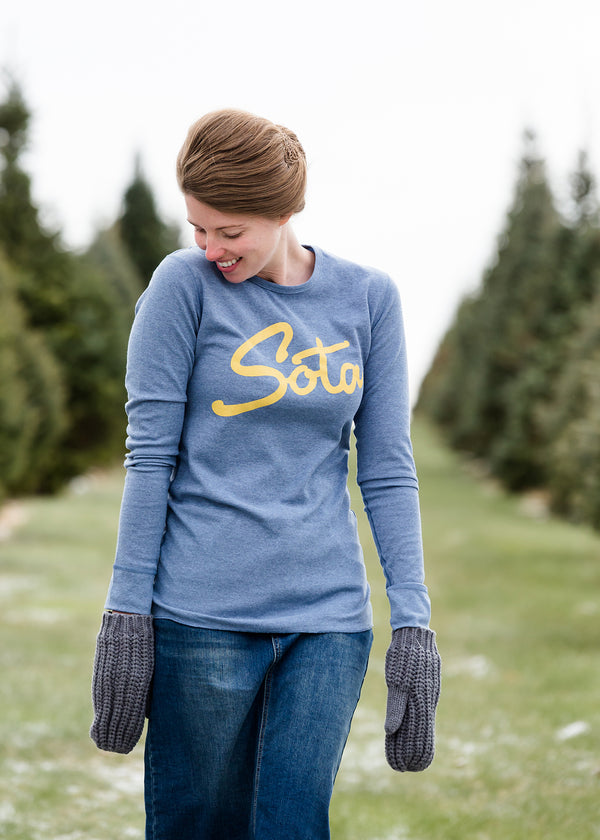 Inherit Co.  | Modest Plus Size Clothing | Sota' Long Sleeve Blue Thermal
