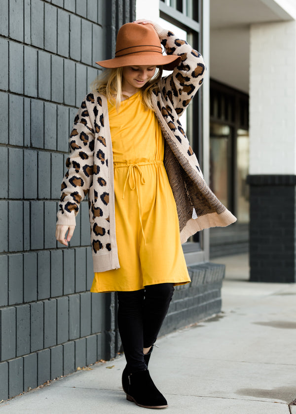 Inherit Co.  | Girls Modest Clothing | Knit Drawstring Mustard Midi Dress